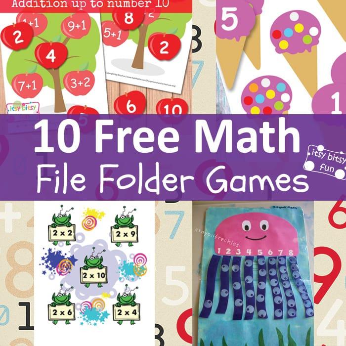 10 Fun Math File Folder Games Free Printable