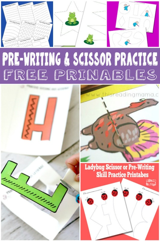 Pre-Writing and scissor practice free printables