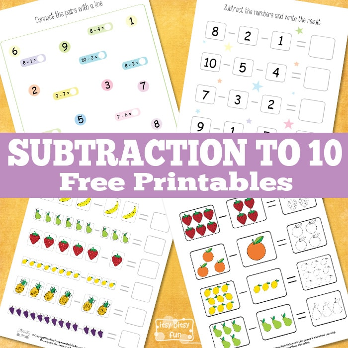 Fun math subtraction to 10