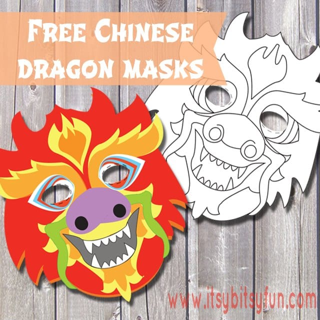 free printable chinese dragon mask template