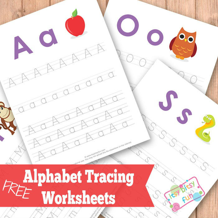 Alphabet Tracing Worksheets ABC Itsy Bitsy Fun – Free Alphabet Tracing Worksheets