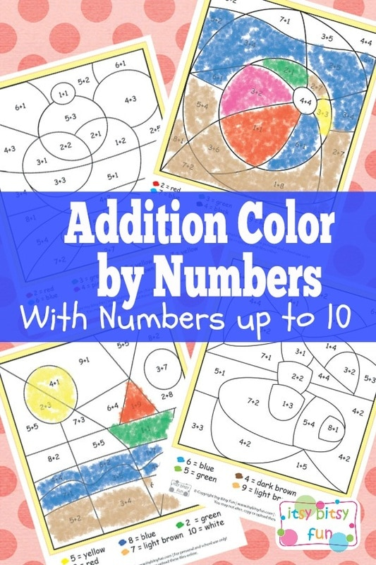 Summer Color by Numbers Addition Worksheets
