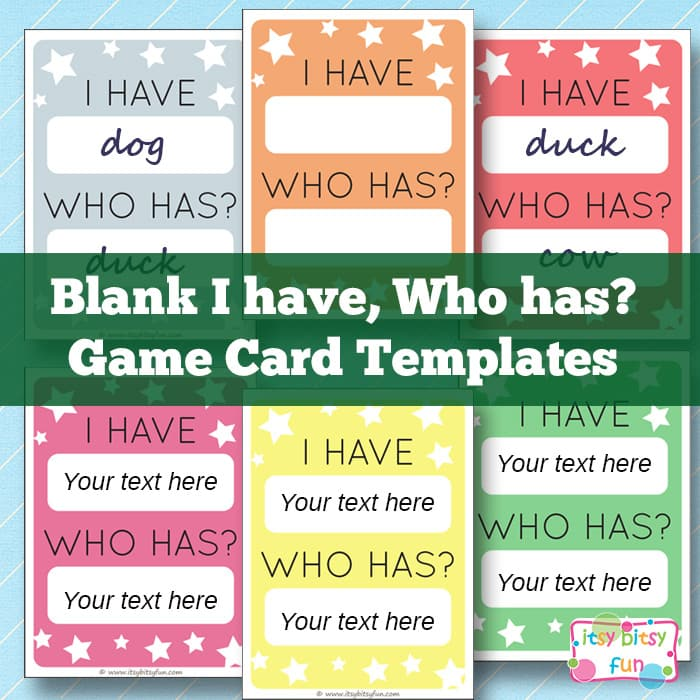 Free Printable I Have, Who Has? Template Game Cards