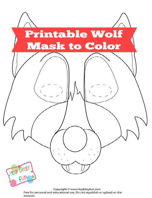 Wolf Mask Template to Color