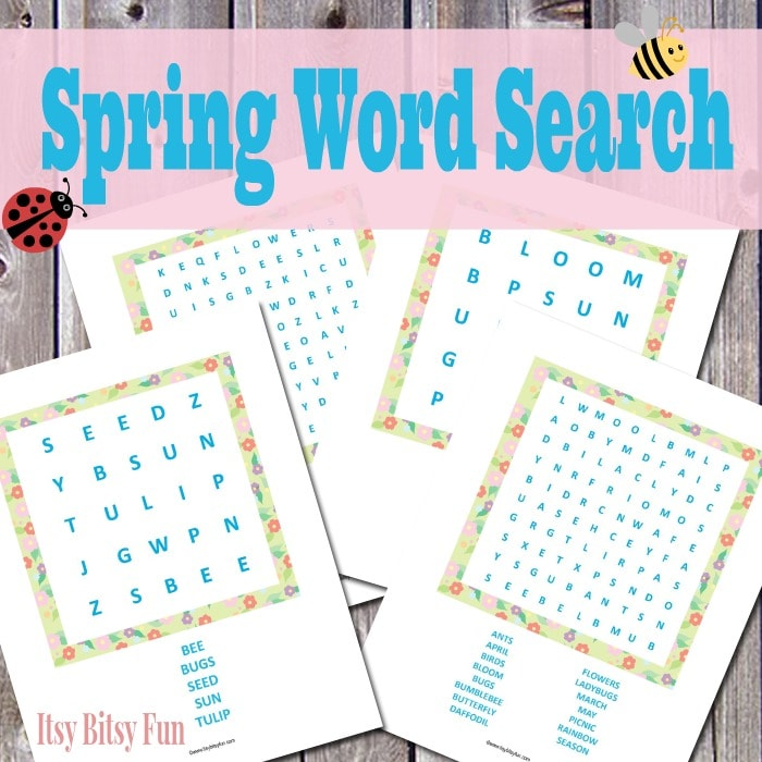 Printable Spring Word Search Puzzles