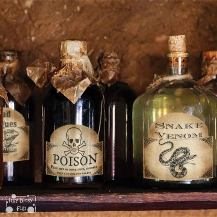 Spooky Halloween Bottle Labels