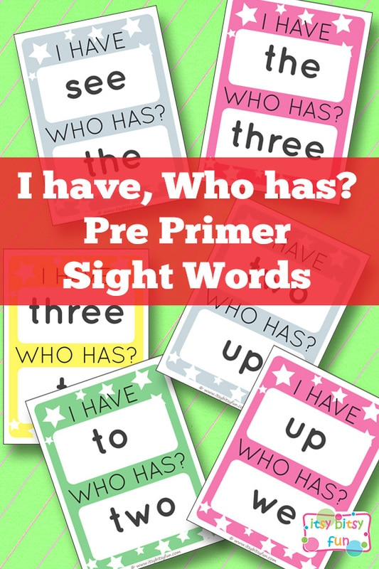 Free Printable I Have, Who Has? Pre Primer Sight Words