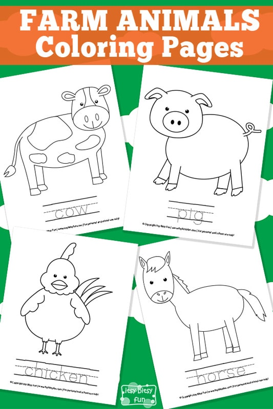 Farm Animal Coloring Pages Itsy