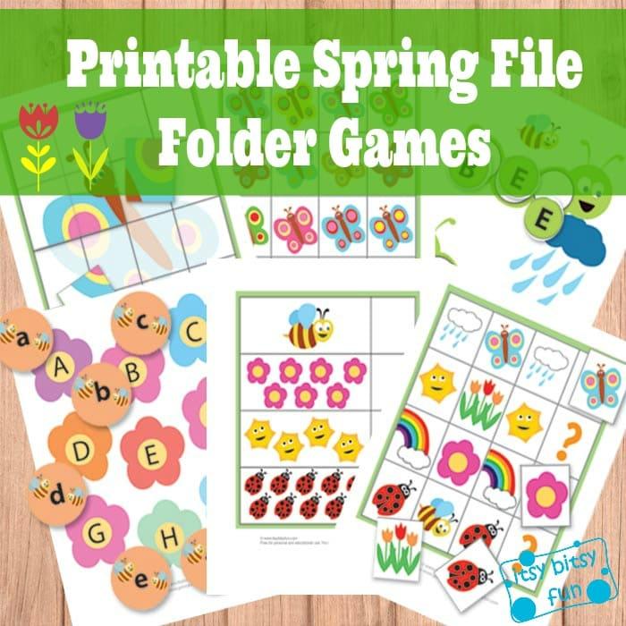 Printable Spring File Folder Games