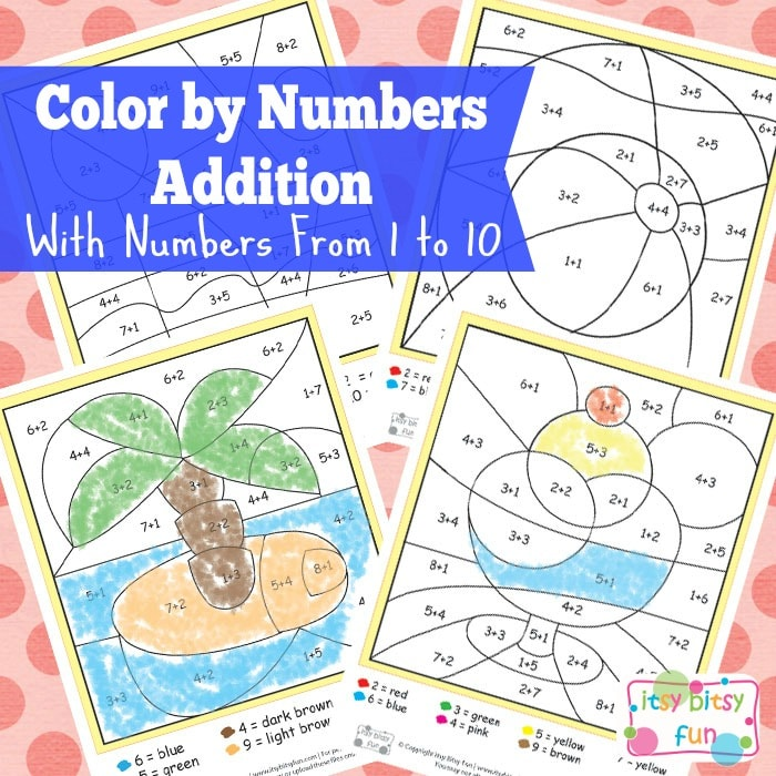 Summer Color by Number Addition Worksheets Itsy Bitsy Fun – Color by Number Worksheets Addition