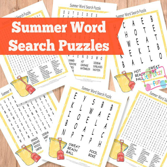 Printable Summer Word Search Puzzles
