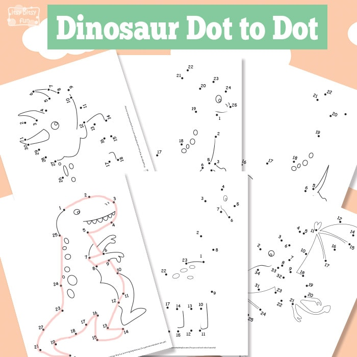 Dinosaur Dot to Dot Worksheets  Free Printable  Itsy Bitsy Fun