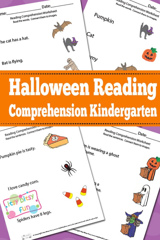 Halloween Reading Comprehension Worksheets for Kindergarten - Itsy Bitsy Fun
