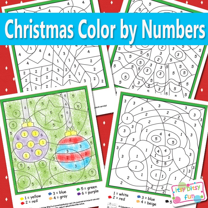 Christmas Color By Numbers Worksheets Itsy Bitsy Fun – Color by Number Christmas Worksheets