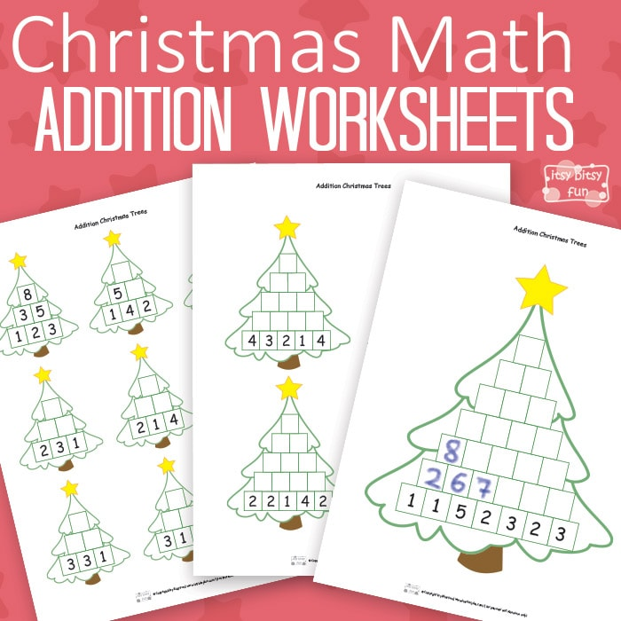 Christmas Math Worksheets Addition Tree Itsy Bitsy Fun – Math Worksheets Christmas