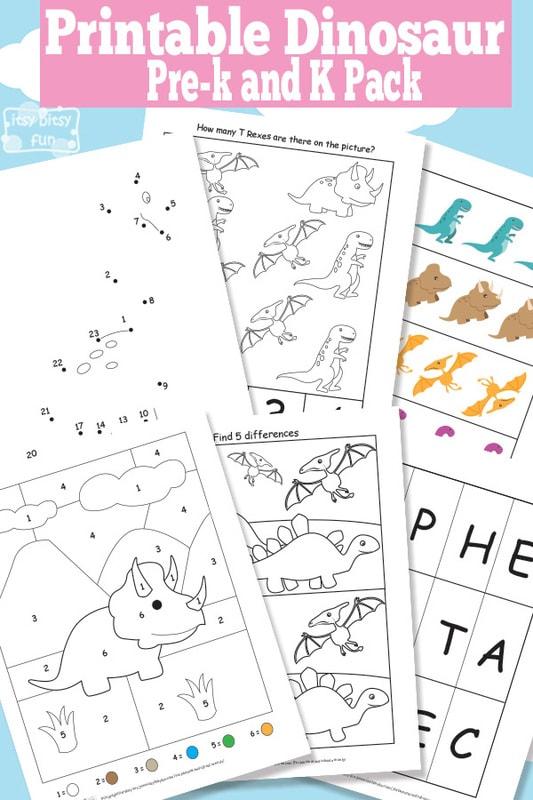 Dinosaur Free Printable Worksheets for Kindergarten and Preschool