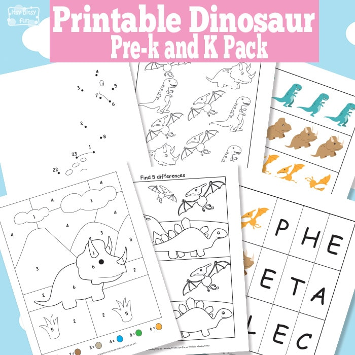 Dinosaur Printable Worksheets for Kindergarten and Preschool