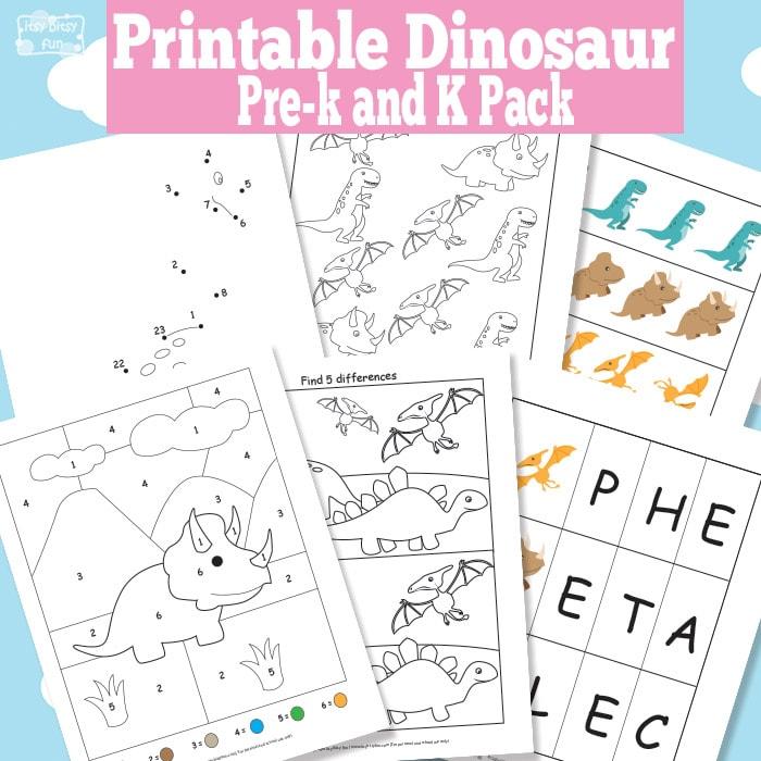 Dinosaur Printable Preschool and Kindergarten Pack Itsy Bitsy Fun – Dinosaur Worksheets for Kindergarten