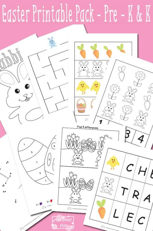 Easter Free Printable Worksheets for Kindergarten and Preschool