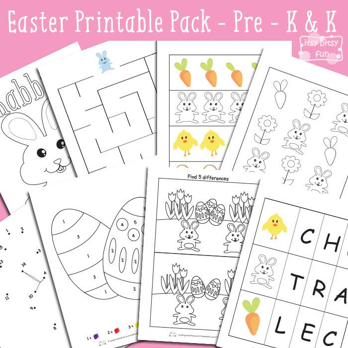 Easter Printable Worksheets for Kindergarten and Preschool