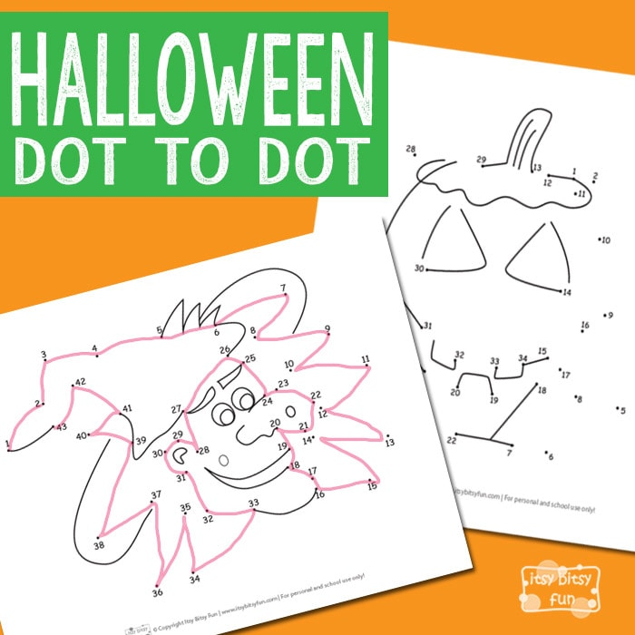 Free Halloween Dot to Dot Worksheets for Kids
