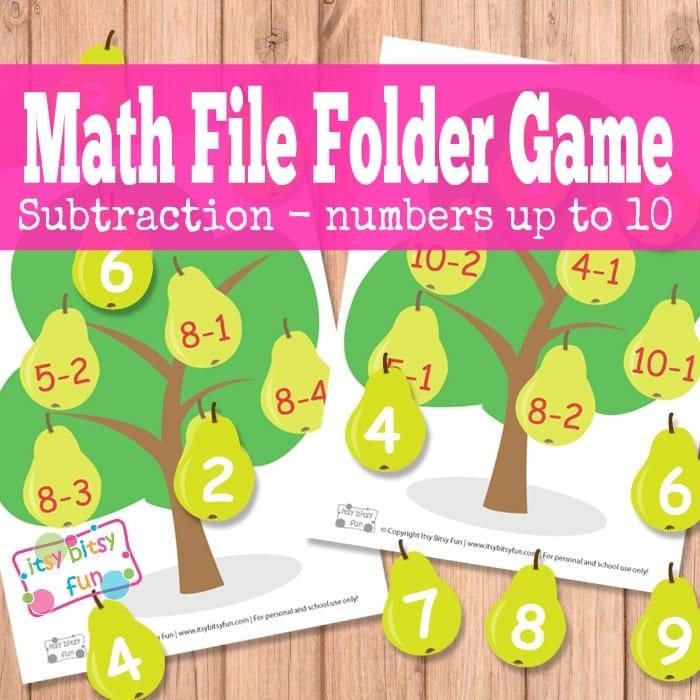 Free Pear Tree Math File Folder Games