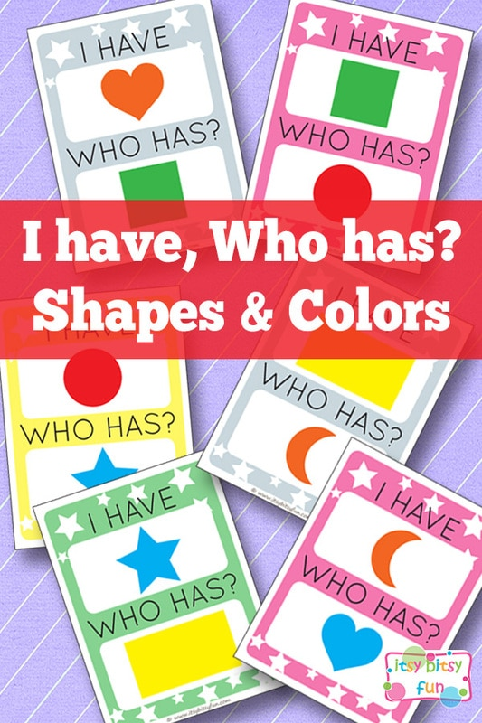 Free Printable I Have, Who Has Shapes and Colors