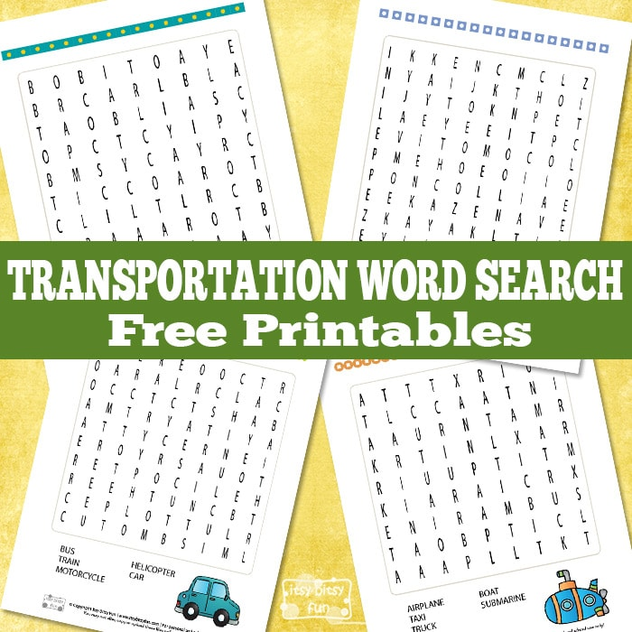 Free Transportation Word Search Puzzles