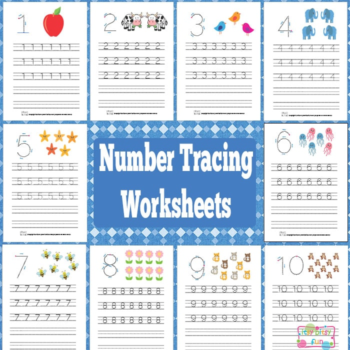 Number Tracing Worksheets Free Printable Itsy Bitsy Fun – Tracing Numbers Worksheets