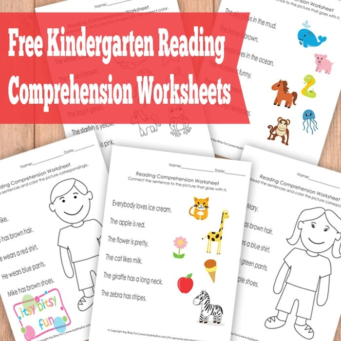 Kindergarten Reading Comprehension Worksheets Itsy Bitsy Fun – Free Printable Kindergarten Reading Worksheets