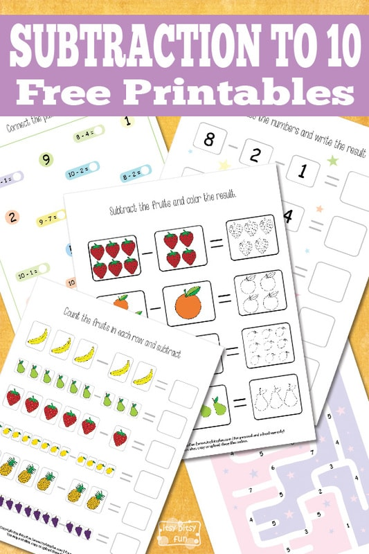 Math Subtraction to 10 Printables
