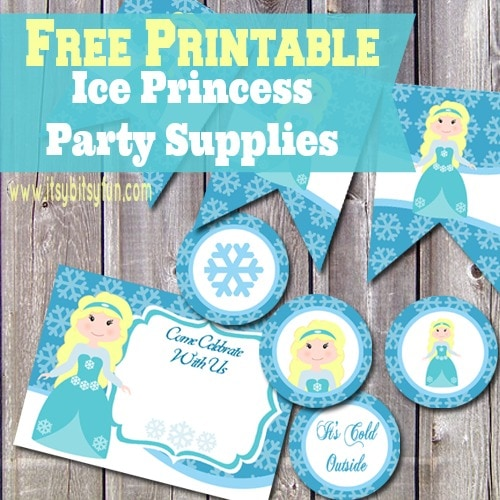 Printable Ice Princess Party Supplies