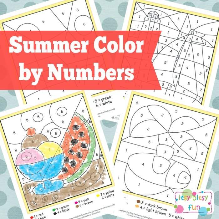 Summer Color by Number Worksheets - Itsy Bitsy Fun