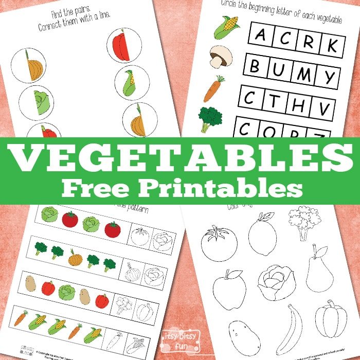 Simple vegetables free printables for kids