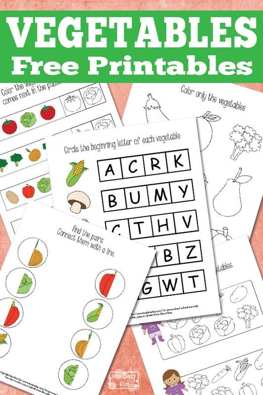 Simple vegetables printables for kids