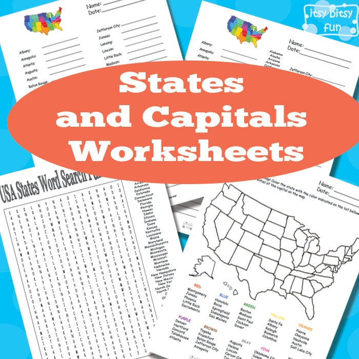 States and Capitals Worksheets Itsy Bitsy Fun – States and Capitals Worksheet