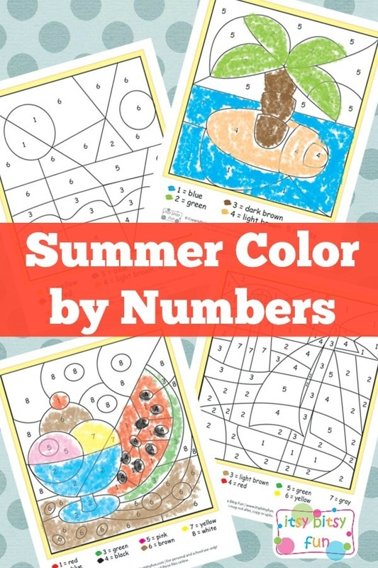 Summer Color by Numbers Worksheets