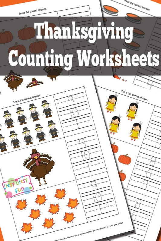 Thanksgiving Counting Worksheets - Itsy Bitsy Fun