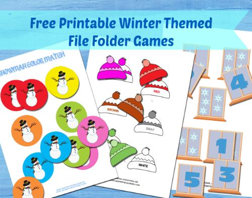 Winter File Folder Games for Kids