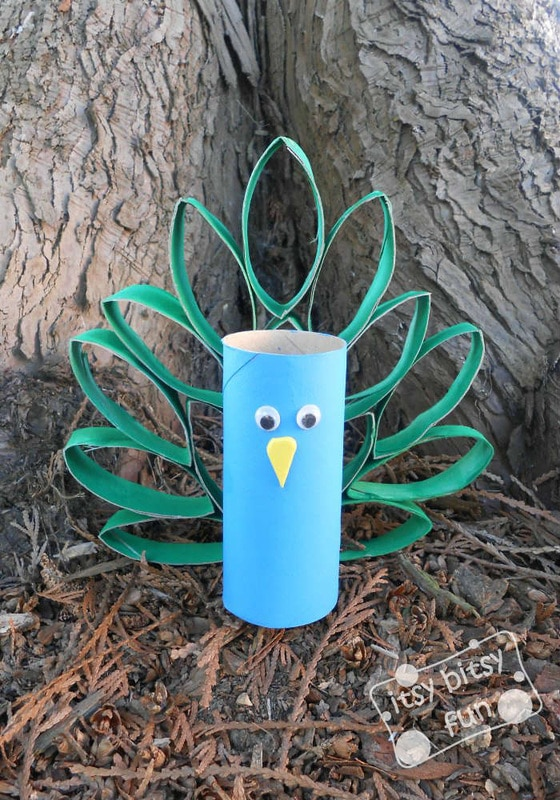 Toilet Paper Roll Craft for Kids: Peacock