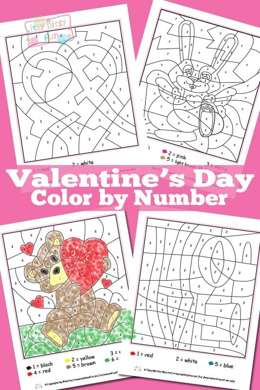 Valentines Day Color By Numbers Worksheets - Itsy Bitsy Fun