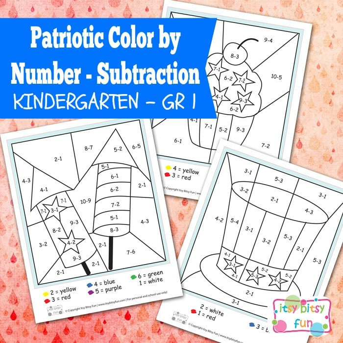 4th Of July Color By Number Subtraction Kindergarten Worksheets -  Itsybitsyfun.com