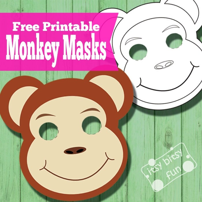 photograph about Printable Monkey named Printable Monkey Masks Templates (no cost) - Itsy Bitsy Enjoyment
