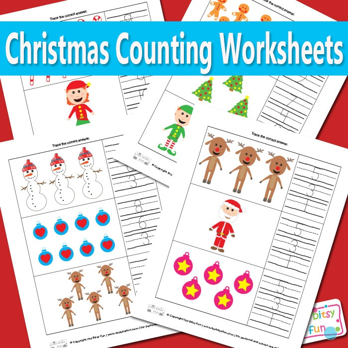Christmas Counting Worksheets for Kids