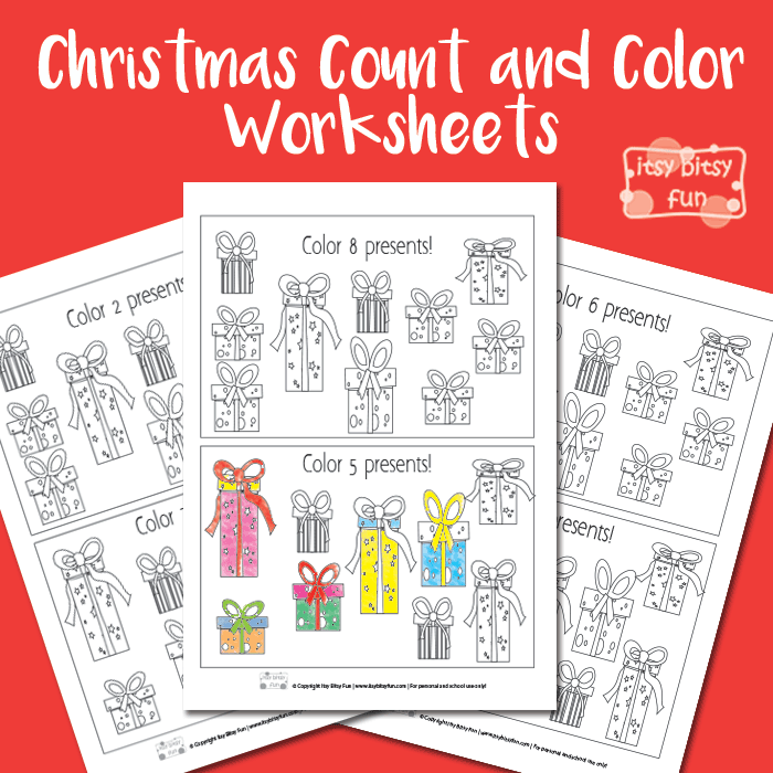 Christmas Worksheets Count and Color