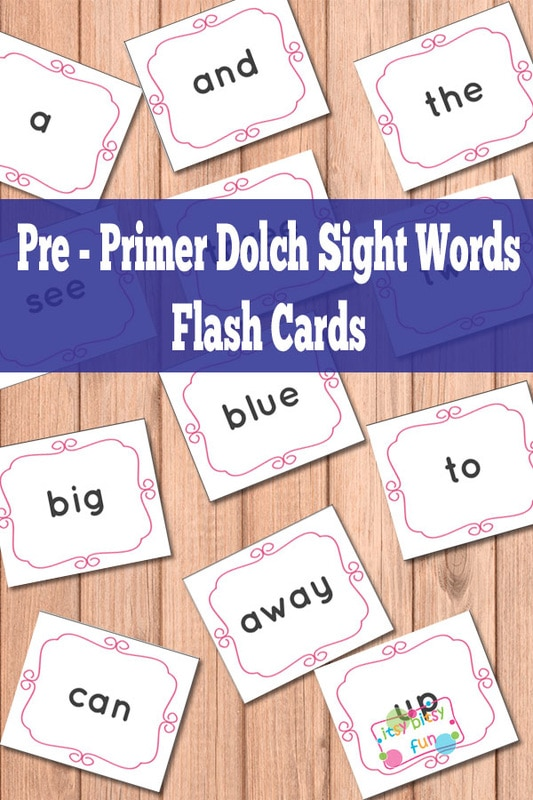 Pre-Primer Dolch Sight Words Flash Cards