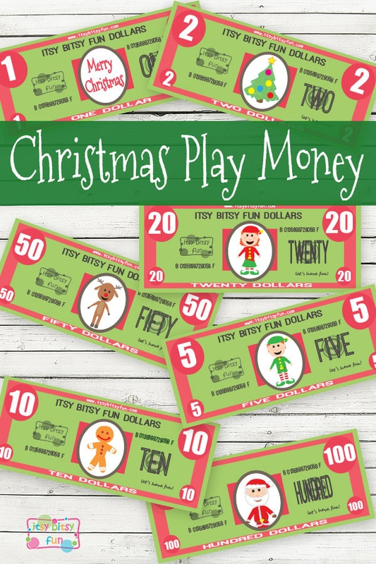 picture relating to Free Printable Money identify Absolutely free Xmas Printable Enjoy Cash - Itsy Bitsy Exciting