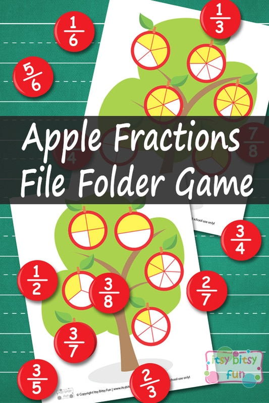 Apple Fractions File Folder Game - Math Printables