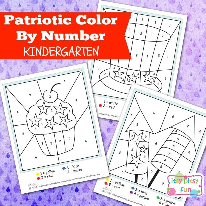 4th of July Color by Number Kindergarten Worksheets - Itsy Bitsy Fun