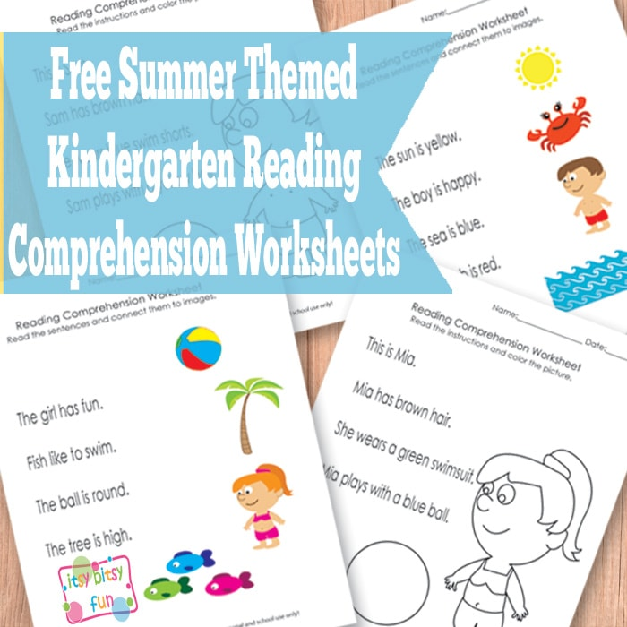 Summer Kindergarten Reading Comprehension Worksheets